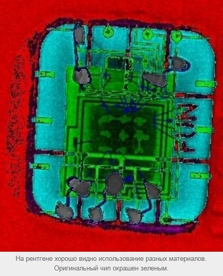 На рентгене хорошо видно использование разных материалов. Оригинальный чип окрашен зеленым.